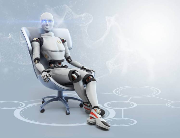 Female android sitting in armchair